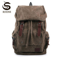 2015 New Casual Canvas Men Leisure Travel Backpack Retro Vintage Male Students School Bags Laptop Computers