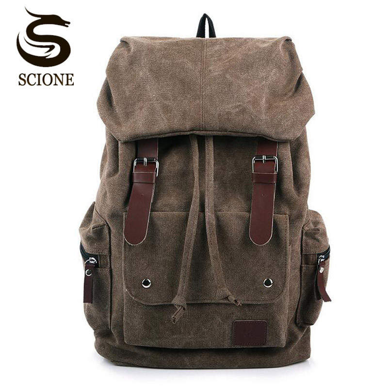 Hot Casual Men Canvas Travel Backpack Men's Vintage Student School Bag Big Laptop Rucksack Canvas Drawstring Backpack MX16