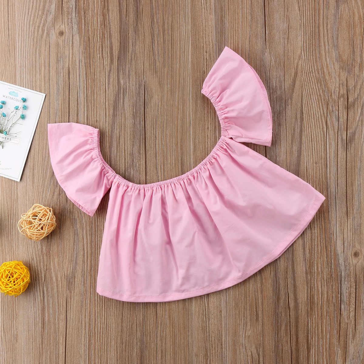 2018, Однотонная футболка с открытыми плечами для новорожденных девочек, розовый, белый, черный короткий топ, блузка, одежда, милая летняя одежда