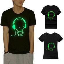 Men Women Short Sleeved T-shirt Fluorescent Creative Personality Couples Dress Fashion Luminous Cotton T-shirt FS99