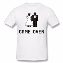 Cotton Casual Shirt White Top Printed Crew Neck Mens Game Over Wedding Vector Fashion T Shirts