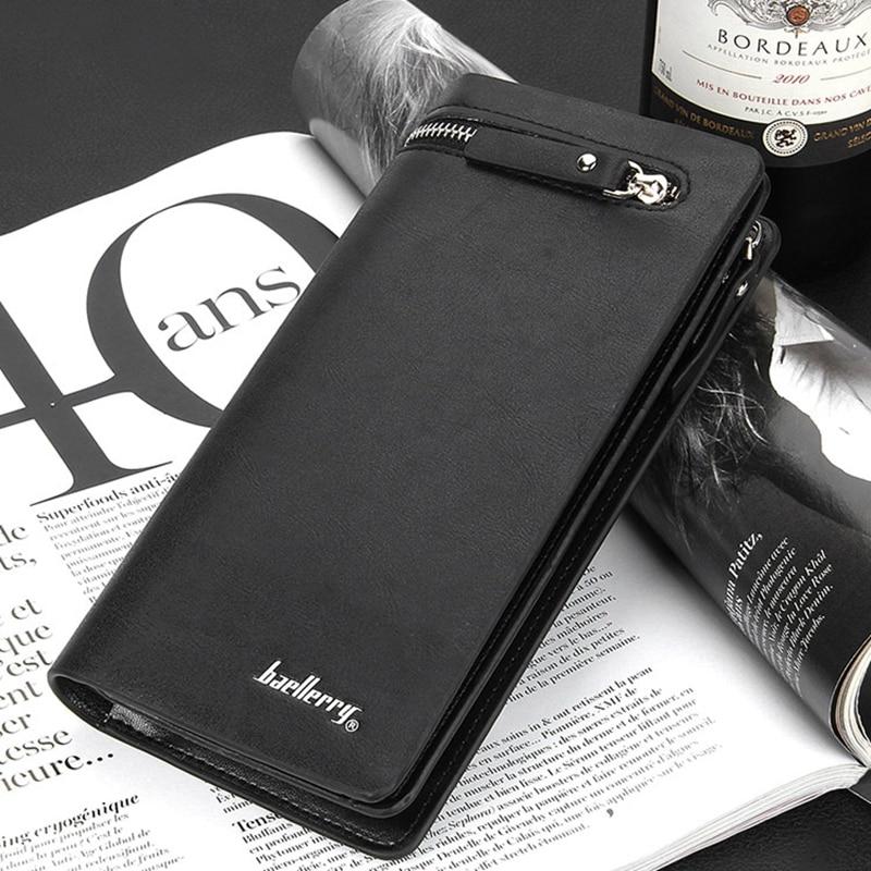 Hot Business Men Wallets Solid Luxury PU Leather Long Wallet Portable Cash font b Purses b