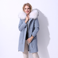 Winter New 100 Real Fur Coat Women Leather Jacket Parka Splid Raccoon Dog Fur Collar Hood