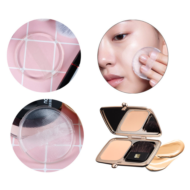 Round Face Cosmetic Air Cushion Pillow Powder Puff BB/CC Cream Makeup Powder Puff Wet and Dry Dual Use Silicone Makeup Sponge Makeup Brushes