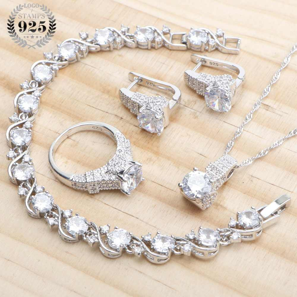 925 Sterling Silver Wedding Jewelry Sets White Zirconia Earrings For Women Bridal Jewelry Bracelet Rings Necklace Set Gift Box