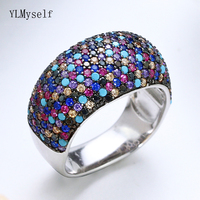 Sterling silver material ring new Gorgeous multi color trendy jewellery crystal luxury jewelry 925 silver women big rings