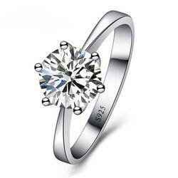 JEXXI Romântico Anéis de Casamento Jóias Anel de Zircônia Cúbica para As Mulheres Homens S90 Anéis De Prata Acessórios