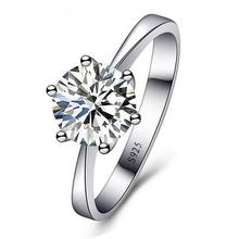 JEXXI romantyczne obrączki ślubne Biżuteria cyrkonia pierścień dla kobiet mężczyźni 925 Sterling Silver pierścionki akcesoria tanie tanio Moda Rings Srebrny Klasyczny Engagement Wedding Bands Prong Setting YR195 Okrągłe Cubic Zirconia Rings Accessory