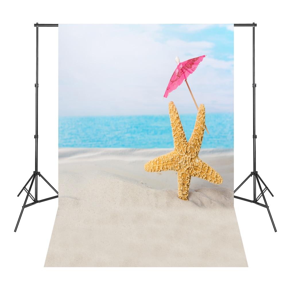 Blauer Himmel-Strand-Starfish-kleiner Regenschirm-neugeborener - Kamera und Foto
