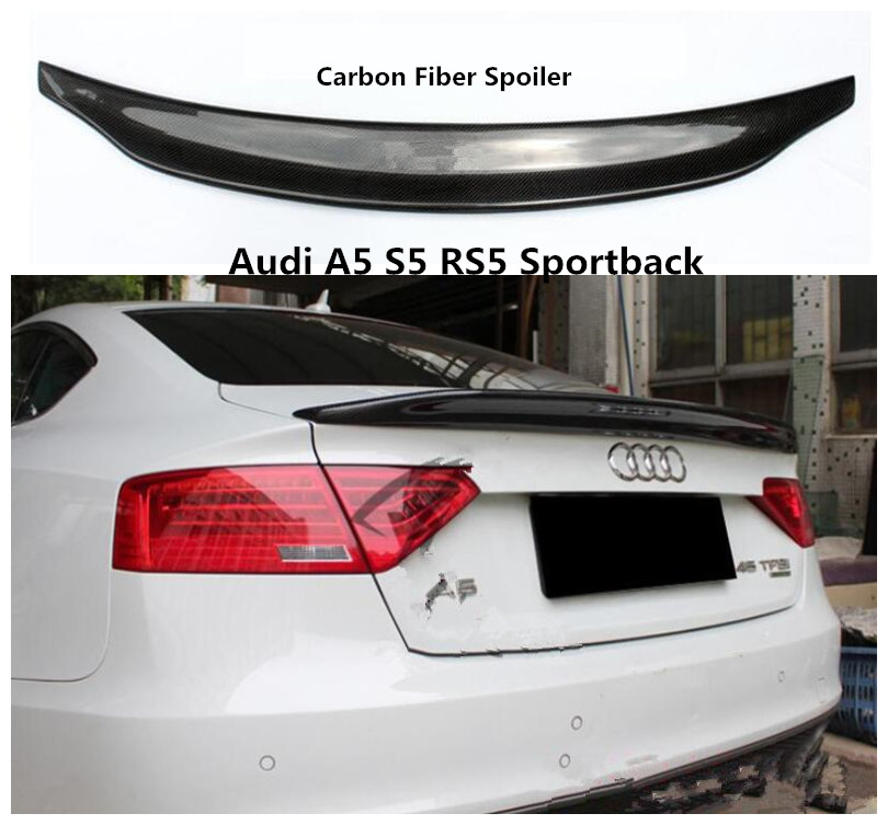 Carbon Fiber Spoiler For <font><b>Audi</b></font> <font><b>A5</b></font> S5 RS5 <font><b>Sportback</b></font> 2009-2019 High Quality Spoilers Auto Accessories By EMS image