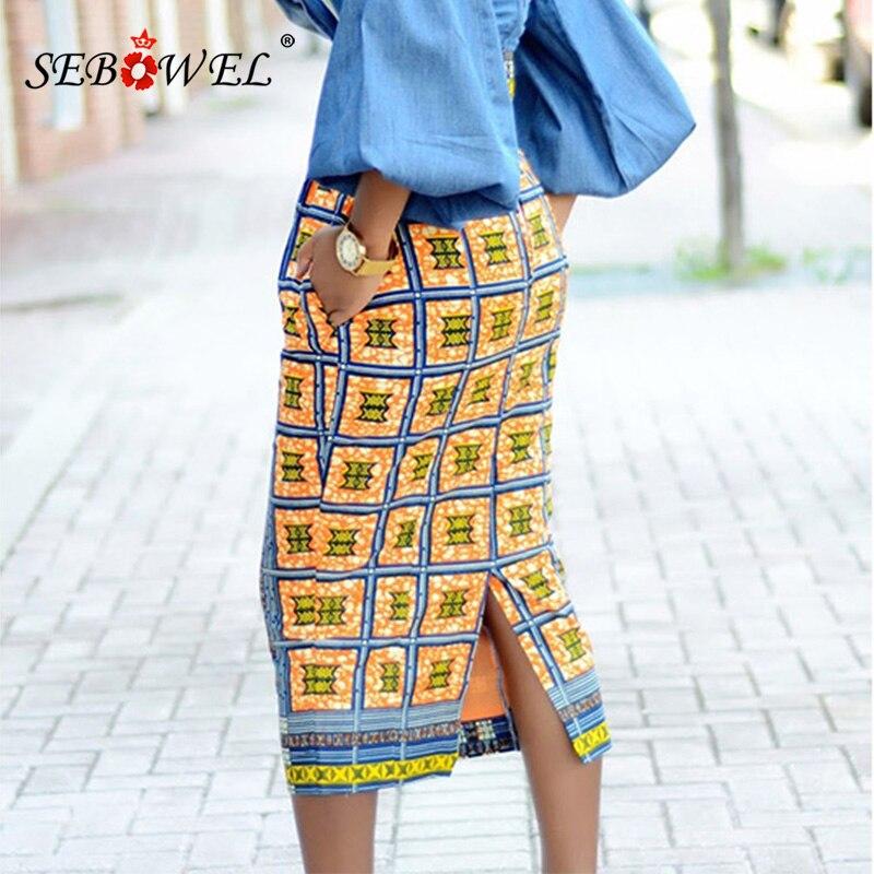 db1360799ebbc US $14.99 30% OFF|SEBOWEL Plus Size S XXL African Print High Waist Bodycon  Long Skirt Women Sexy Casual Geometric Print Pencil Midi Skirts Female-in  ...