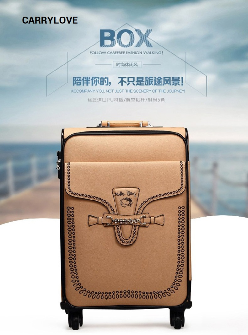 100% Wahr Carrylove Mode Super Leicht Und Langlebig 20/24 Zoll Größe Pu Rollgepäck Spinner Marke Reise-koffer