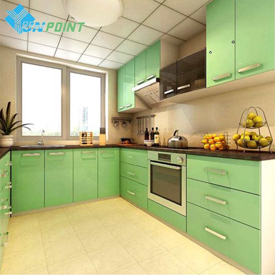 60cmX3m Glossy Pearl Green PVC Self adhesive Wallpaper Modern DIY Home Decor Decor Vinyl Films for Cabinet Kitchen Waterproof