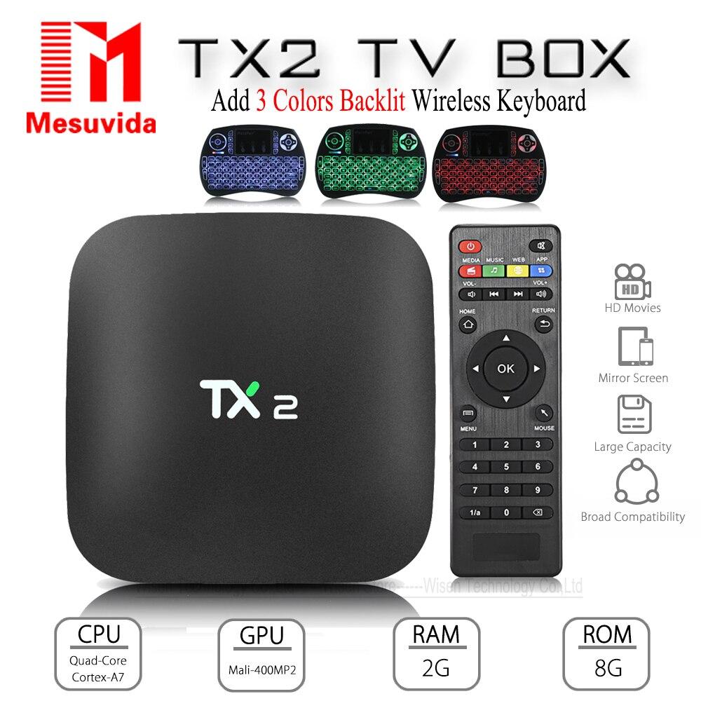 Mesuvida TX2 R2 Android 6.0 Smart TV Box 2G 16G Bluetooth2.0 KD Reproductor multimedia Rockchip RK3229 32Bit 2.4G WiFi 4 K x 2 K Set Top caja