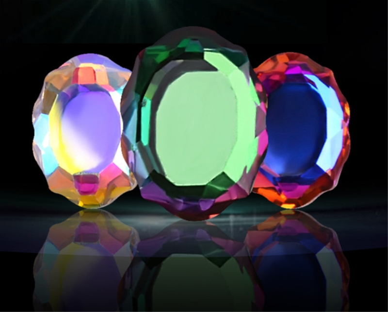 Nail Art Rhinestones 10Pcs 6x8mm Flat Shaped Multi-color Magic mirror Glass Flame Colorful Stones For 3D Nails Dress Decoration