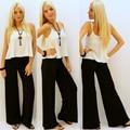 Negro pantalón de pierna ancha Floja ocasional de las mujeres falda pantalones baggy pant women pantalones para mujer elegante