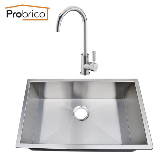 Probrico stainless steel handmade single bowl undermount kitchen probrico stainless steel handmade single bowl undermount kitchen sink with hotcold faucet kshm3018bs usa workwithnaturefo