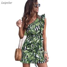 Women Summer Floral Printed One Off Shoulder Dress Short Sundress Vintage Flower Ruffle Mini Laipelar