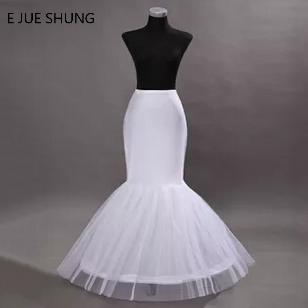 E JUE SHUNG Free Shipping Mermaid Petticoat  1 Hoop Bone Elastic Trumpet  Crinoline Wedding Accessories Hot Sale High Quality