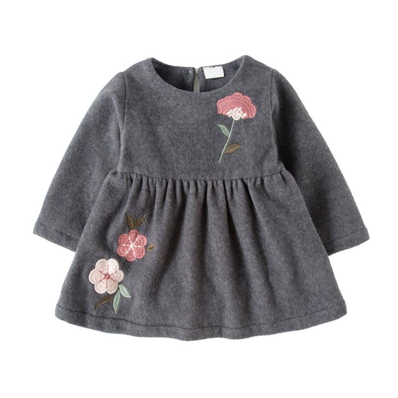 все цены на Plus Velvet Winter baby dress 2017 new arrival long sleeve baby girls clothes Flower Casual Newborn Dress