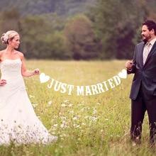 Sólo se casó con blanco Banner rústico Garland decoración de la Mesa de boda Vintage de fiesta para el Sr. y la Sra. coche decoraciones de la boda
