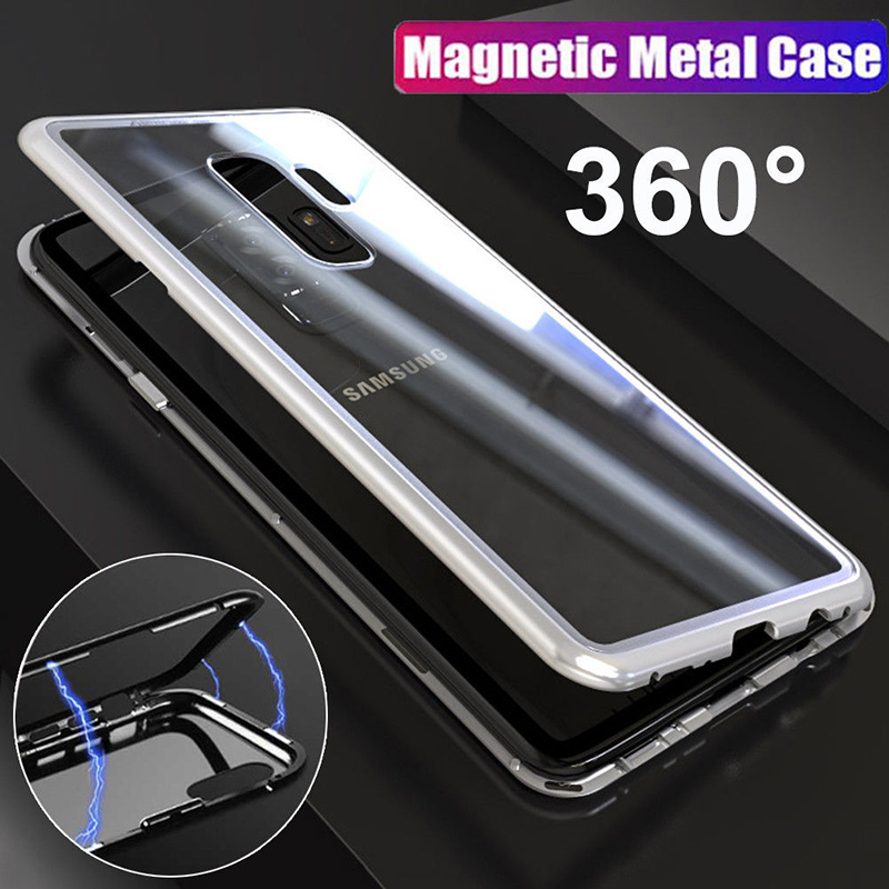 Built-in Magnet Adsorption Metal Case For Samsung Galaxy S9 Plus S8 S9 Plus Note 8 S7 Edge For Xiaomi Mi 8