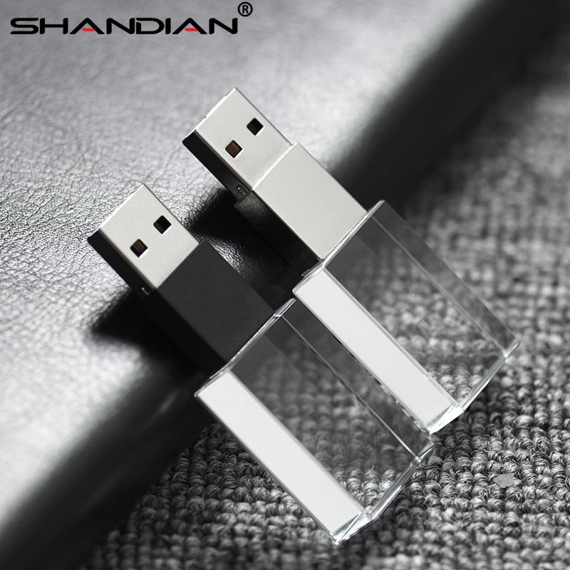 Shandian Crystal Usb Sticks 3d Print Custom Logo 4gb 16ggb Usb Flash Pendrive 32gb 64gb Transparent Glass(over 10 Pcs Free Logo To Ensure Smooth Transmission