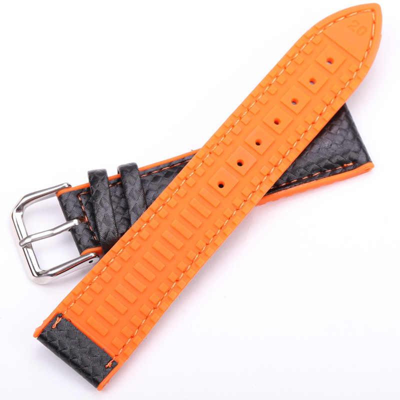 HENGRC الساعات الجلدية المطاط النساء الرجال 18 مللي متر 20 مللي متر 22 مللي متر حزام ساعة اليد سوار مع الصلب مشبك أسود أصفر برتقالي