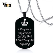 Vnox My King My Dad Necklaces with Personal DIY Engrave Stainless Steel Dog Tag Pendant Gifts for Him Family Love Jewelry(China)