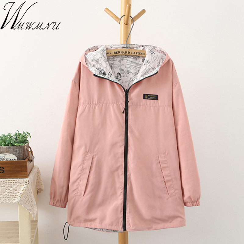 2018 Spring Autumn Women casual   Basic     Jacket   Pocket Zipper Hooded Two Side Wear Cartoon Print Outwear Loose Coats big size