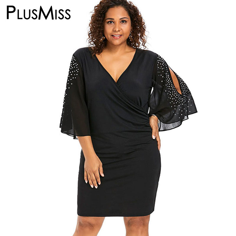 f4a1053d63 PlusMiss Plus Size 5XL XXXXL XXXL V Neck Bell Flare Sleeve Rhinestone Party  Dresses Female Black Bodycon Dress Women Big Size