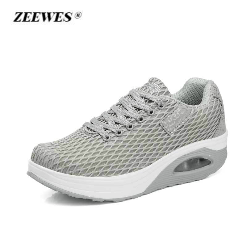 Summer Breathable Mesh Air Cushion Casual Shoes Sneakers for Women 2018 Fashion Increased Platform Sneakers Zapatos De Mujer