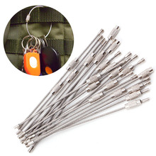 1Pc Stainless Steel EDC Key Ring Chain Wire Rope Cable Outdoor Hiking Screw Lock