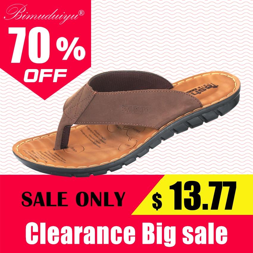 BIMUDUIYU Hommes Tongs Casual Hommes Chaussures En Cuir Véritable Pantoufles D'été Mode À La Main Plage Flip Flops