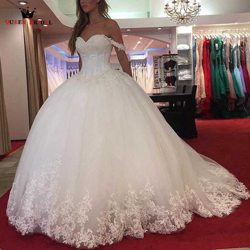 Custom Made Ball Gown Sweetheart Fluffy Lace Sequins Luxury Bride Wedding Dresses Wedding Gown 2018 New Vestidos De Novia WS21
