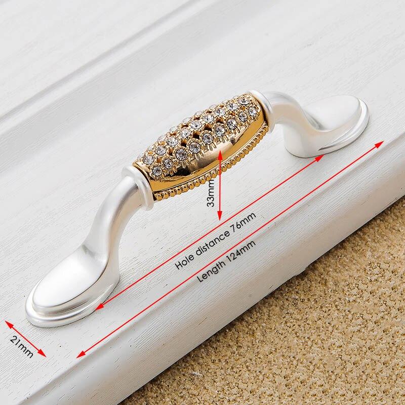 KAK хрустальные золотые дверные ручки с бриллиантами, роскошные цинковые ручки для ящика шкафа, европейские ручки для шкафа, мебельные ручки - Цвет: Handle-805-76G