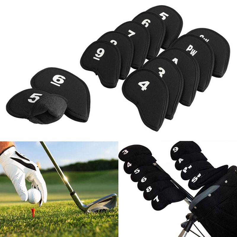 10pcs Black Golf Head Covers Club Iron Putter Head Protector Set Neoprene Head Cover Golf Accessory