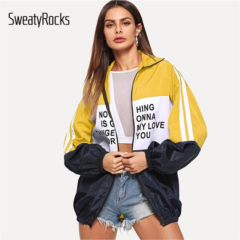 Sweatyrocks Casual Zip Up Farbe Block Brief Druck Jacke Langarm Aktive Tragen Jacken 2018 Herbst Frauen Freizeitsport Mantel üBerlegene Leistung Jacken & Mäntel