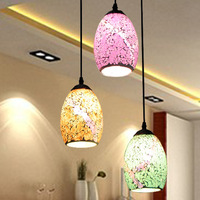 European Style Simple Light Lamps Decorated Restaurant Bar Color Glass Mosaic Three Head Pendant Lights Wholesale