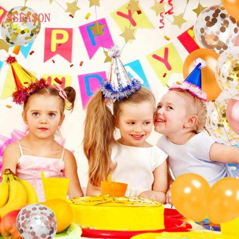 8 Musim Satu Tahun Ulang Tahun Balon Anak Laki-laki Confetti Nomor Ballon 1st Selamat Ulang Tahun Gadis Dekorasi Pesta Ulang Tahun Baby Shower Perlengkapan