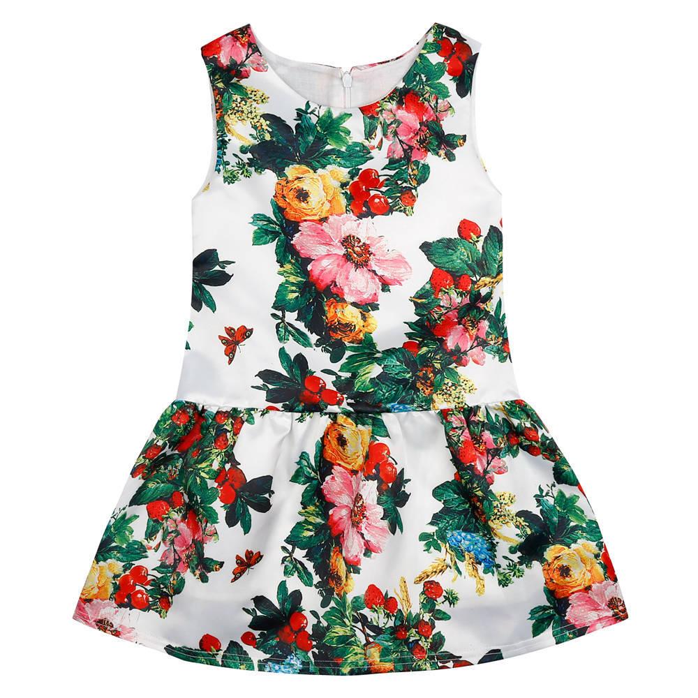 Vestido da menina de Verão Crianças Vestido de Princesa 2017 Nova Marca  Vestido de Festa Menina Cereja Flor Crianças Vestidos para Meninas Do Bebê  Roupas eb4e38c2c348