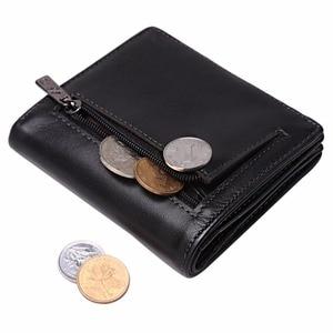 Image 2 - بيسون الدينيم قصيرة محافظ الرجال جلد طبيعي تتفاعل حجب محفظة الرجال عملة جيب حامل بطاقة مصمم محفظة صغيرة W9317