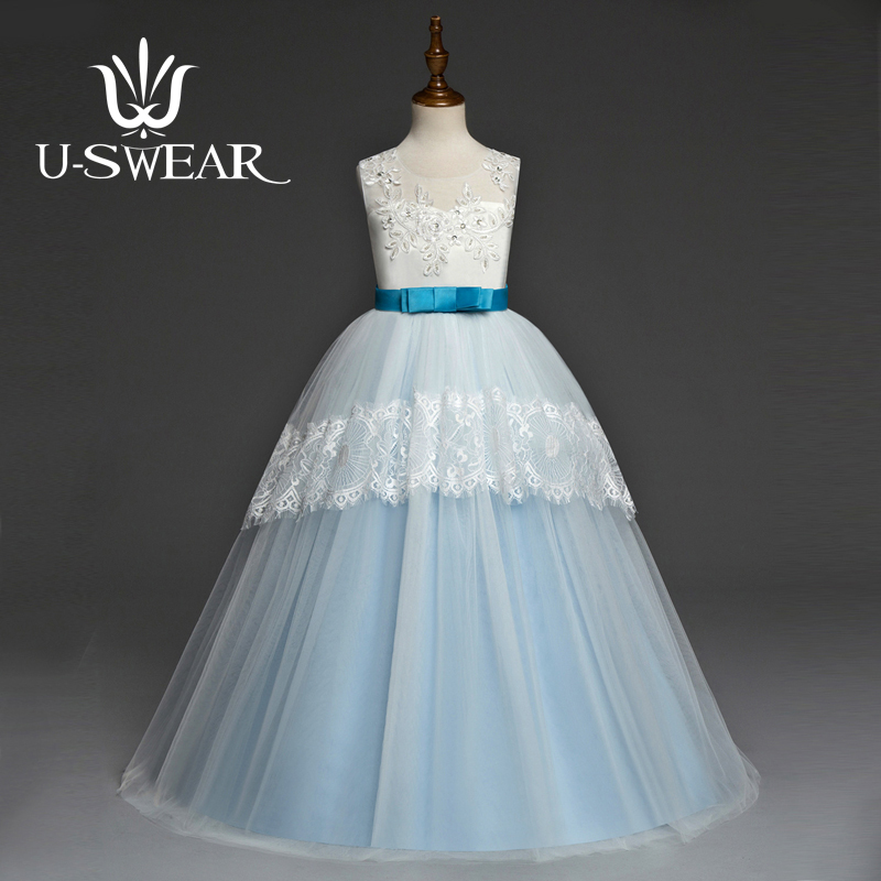 U-SWEAR 2019 New Arrival Chiffon Kid   Flower     Girl     Dresses   Flora Appliqued Crystal Beaded Sleeveless   Girl   Ball Gown Vestidos