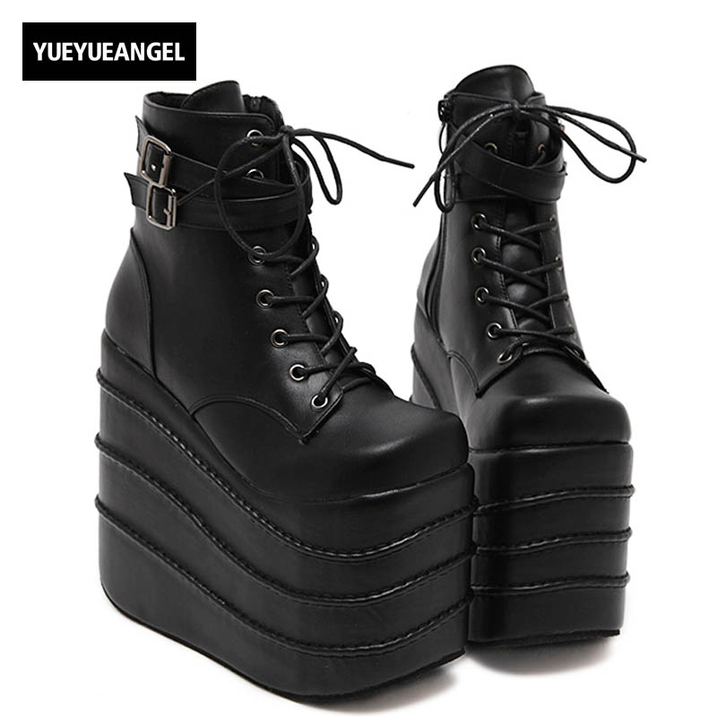 Womens Gothic High Wedge High Heels Super Platform Shoes For Woman Lace Up Ankle Boots Shoes Pumps Size Black White Color annymoli platform high heels lace up wedge shoes ladies pumps pointed toe lace up increasing heels shoes black white size 34 39