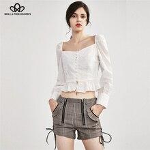 Cotton Shirt Jennie-Clothes Blouse Women Square-Collar Long-Sleeve Ruffle Casual Summer