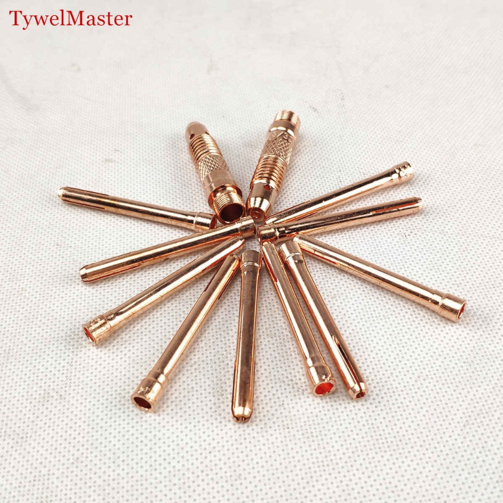 12pcs Argon Welding TIG Torch Consumable 1.0mm 1.6mm 2.0mm 2.4mm 3.0mm 3.2mm TIG Tungsten Electrode Collet Body And Collet