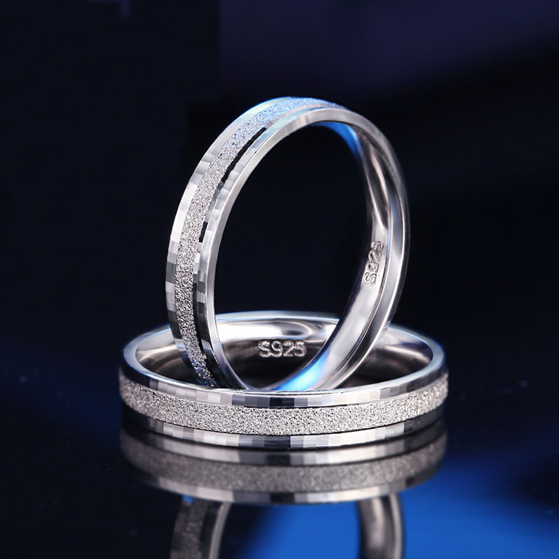 1PCS 925 Silver Rings for Men Women 100% Real 925 Sterling Silver Top Quality Frosted Flakes Ring Couple Jewelry Finger Ring