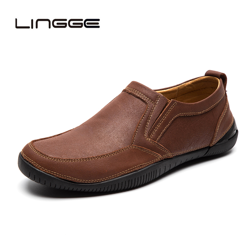 LINGGE New 2019 Men Casual Shoes Genuine Leather Summer Breathable Men Loafers Brand Vintage Flats Shoes