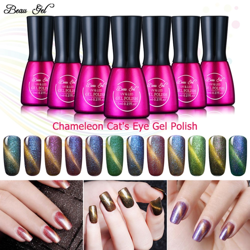 Beau Gel 7ml 3D Camaleon Ochi de pisică Gel UV Gel de unghii Soak Off Semi Permanent UV Gel Polonat Smalt Glitter Gel Lacuri 24 de culori