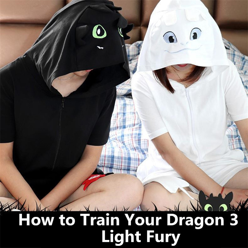 Anime How To Train Your Dragon 3 Toothless Cosplay Costumes Women Men Light Fury Pajamas Cotton Bathrobe Sleepwear Jumpsuits New